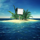Paradise island in ocean with billboard