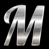 Letter M from chrome solid alphabet isolated on black