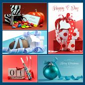 Multi Holiday Symbols And Gifts Collage Of Five Colorful Images For Christmas, New Year, Easter, Val