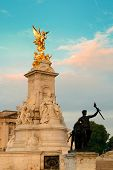 Buckingham Palace and statue in the morning in London.