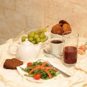 Healthy Eating: Bread, Salad Of Arugula, Salmon, Grapes, Cookies