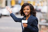 professional african news reporter in live broadcasting on street