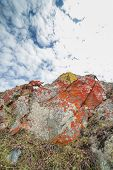 stock photo of lichenes  - Lichen on stone with cloud and sky Background - JPG