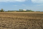 pic of plowed field  - Lithuania spring plowing fields prepared for sowing  - JPG