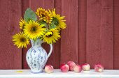 Decorative Ceramic Jug Pitcher With Sunflowers And Apples