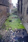 Water Pollution Dirty With Rubbish Sewer Canal In Nepal