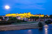 Carcassonne Ancient Town and castle at dusk in France
