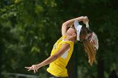 MOSCOW, RUSSIA - JULY 20, 2014: Lorena Melo of Brazil in the final match against Italy during ITF Be