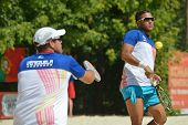 MOSCOW, RUSSIA - JULY 20, 2014: Men double of Venezuela in the match against Spain during ITF Beach