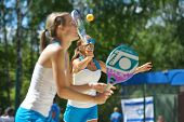 MOSCOW, RUSSIA - JULY 20, 2014: Woman double of Latvia in the match against Bulgaria during ITF Beach Tennis World Team Championship. Bulgaria won in two sets