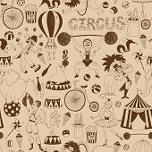 foto of circus clown  - Delicate retro seamless circus background pattern for invitations and wrapping paper with scattered icons of performing animals  the Big Top  performers  equipment and the word Circus in square format - JPG