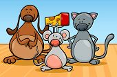 Cute Pets Characters Cartoon Illustration