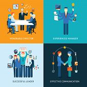 image of leader  - Business team leader banners with a management meeting  - JPG