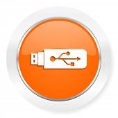 usb orange computer icon