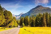 Fantastic mountain road in National Park High Tatra. Dramatic scenery. Strbske pleso, Slovakia, Euro