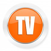 tv orange computer icon