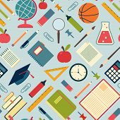 School tools and supplies on a blue background. Seamless pattern
