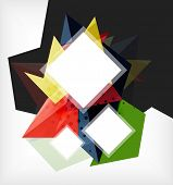 Modern futuristic techno abstract composition made of 3d geometric shapes with space for your busine