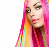 Colorful Hair and Makeup. Beauty Fashion Model Girl with Colorful Dyed Hair. Colourful Long Hair and