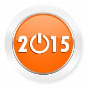 new year 2015 orange computer icon