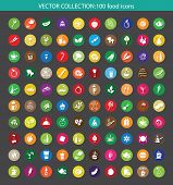 big collection of colorful vector food icons