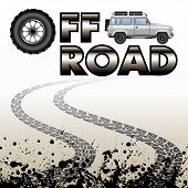 picture of skid  - Tire tracks and off road car isolated on background - JPG