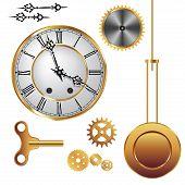 image of pendulum clock  - Parts of clock mechanism isolated on white background - JPG