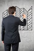 Businessman Drawing Black Graphic