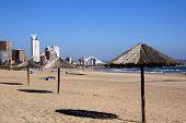 Wooden Sunshades On Addington Beach In Durban