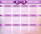 Calendar With Purple Christmas Bow And Ribbon On 2017 In Vector