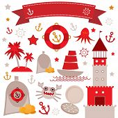 Vintage scrap nautical set cute sea objects. Red, gray, yellow. Vector