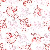 Seamless pattern wiyh angels on a background.