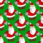 pattern with pixel art Santa on a background.