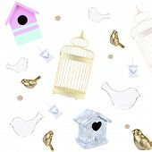 Decorative birdhouses, cage, birds, lanterns as background