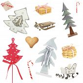 Christmas toys, cookies and candies as holiday background