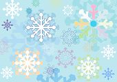 Winter Background With Stylized Snowflakes Made ??in Different Colors