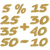 Set of different numbers of discounts. Pencil scribbles in soft yellow tones