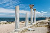 Ancient Greek Basilica And Marble Columns In Chersonesus Taurica. Sevastopol