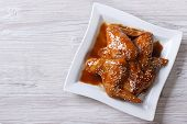 Asian Chicken Wings Glazed With Sesame Top View Horizontal