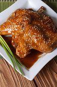 Chicken Wings In Honey Glaze Top View Vertical