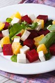 Fresh Beet Salad With Oranges, Cheese And Arugula, Vertical