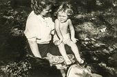 GERMANY, CIRCA 1938 -  Vintage photo of mother with her baby girl