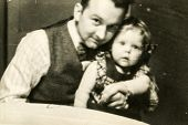 GERMANY, CIRCA 1938 -  Vintage photo of father with his baby daughter