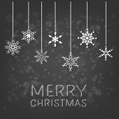 Merry Christmas background with hanging snowflake