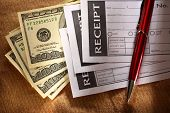 Blank Receipt, Money And Red Pen