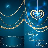Vector Saint Valentine turquoise  invitation card with hearts and golden jewelry