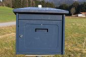 picture of old post office  - A nice old blue letterbox in autumn - JPG