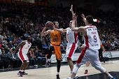 VALENCIA, SPAIN - DECEMBER 5: Ribas with ball during Euroleague match between Valencia Basket Club and Crvena Zvezda Telekom Belgrade at Fonteta Stadium on Dicember 5, 2014 in Valencia, Spain