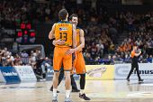VALENCIA, SPAIN - DECEMBER 5: Lucic and Ribas during Euroleague match between Valencia Basket Club and Crvena Zvezda Telekom Belgrade at Fonteta Stadium on Dicember 5, 2014 in Valencia, Spain