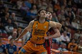 VALENCIA, SPAIN - DECEMBER 7:  25 Loncar during Endesa Spanish League game between Valencia Basket Club and Laboral Kutxa Baskonia at Fonteta Stadium on December 7, 2014 in Valencia, Spain